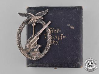 Germany, Luftwaffe. A Denazified Luftwaffe Flak Badge and Presentation Case Belonging to Unteroffizier Barkau