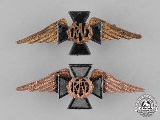 Great Britain. Two First War Royal Air Force (RAF) Chaplain's Collar Badges