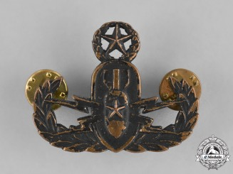 United States. An Armed Forces Explosive Ordnance Disposal (EOD) Warfare Officer Insignia, Post 1974 Issue