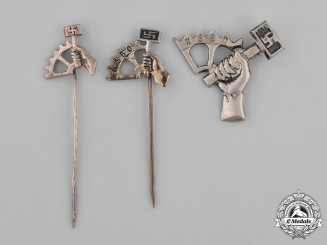 Germany, Third Reich. A Grouping of Three NSBO (National Socialist Factory Cell Organization) Membership Pins
