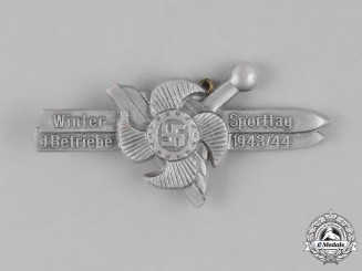 Germany, Third Reich. A 1943/44 German Labour Front (DAF) Winter Sports Day of Factories Badge