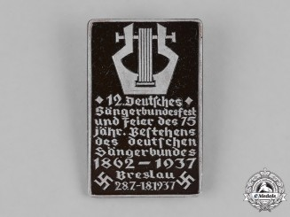 Germany, Third Reich. A 1937 German Song Festival Badge, by Paulmann & Crone
