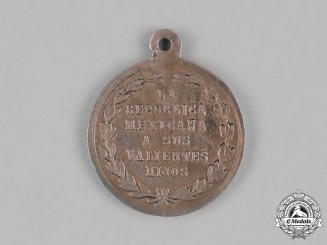 Mexico, Republic. A Medal for Defending the City of Puebla, Officer's Silver Medal c.1863