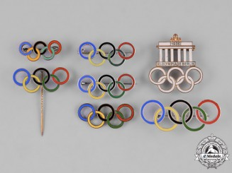 Germany, Third Reich. A Group of 1936 Berlin Olympics Pins and Badges