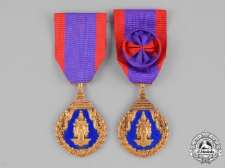 Laos, Kingdom. Two Medals for Excellence in Education, II Class Officer and III Class Knight