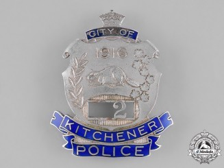 Canada, Dominion. A City of Kitchener Police Badge, by W.Scully