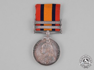 United Kingdom. A Queen's South Africa Medal 1899-1902, to Corporal T. Elms, Manchester Regiment