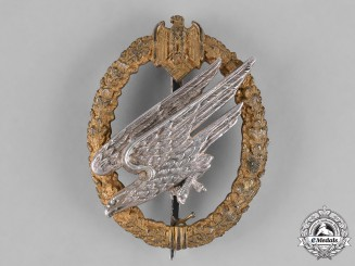 Germany, Heer. A Rare Army Paratrooper Badge in Silver, by C.E.Juncker, Named