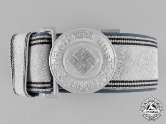 Germany, Ordnungspolizei. A Police Officer's Belt Buckle by Assmann with a 2nd Pattern SS Brocade Belt