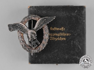 Germany, Luftwaffe. A Pilot Badge, with Case, by Gebrüder Schneider
