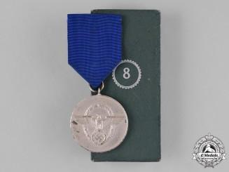 Germany, Ordnungspolizei. A Cased Ordnungspolizei (Order Police) 8-Year Faithful Service Medal