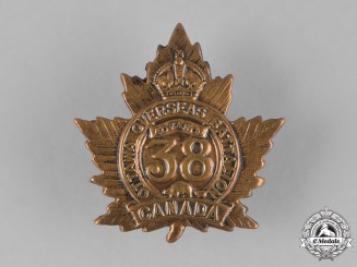 "Canada. A 38th Infantry Battalion ""Royal Ottawa Battalion"" Cap Badge , c.1915"