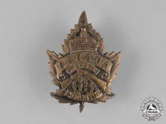 Canada. A 63rd Infantry Battalion Cap Badge, c.1915
