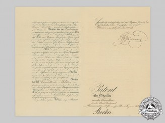 Germany, Imperial. An Exceptionally Detailed Promotion Certificate to Oberst Becker, 1881