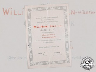 Germany, HJ. A National Trade Competition Gau Winner Certificate to Willi Nagel, 1944