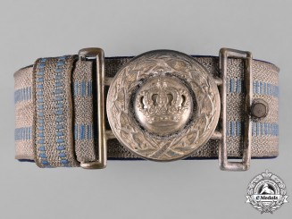 Bavaria, Kingdom. An Officer's Brocade Dress Belt and Buckle, c.1916