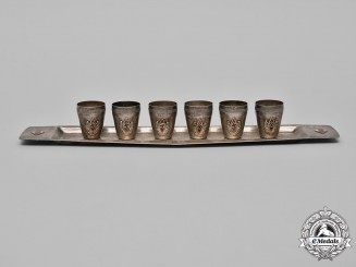 Germany, HJ. An Set of Six Shot Glasses and Serving Tray, c.1941