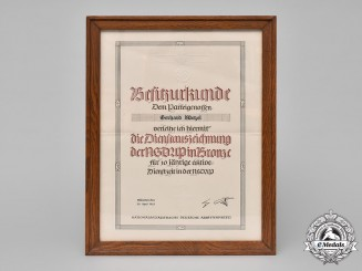 Germany, NSDAP. A 1943 10-Year Long Service Award Document to Gerhard Wetzel