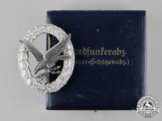 Germany, Luftwaffe. An Radio Operator Badge in Aluminum, Case, by Assmann