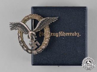 Germany, Luftwaffe. A Pilot Badge to Friedrich Widenbach, with Case, by C.E. Juncker