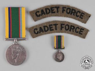 United Kingdom. A Cadet Forces Medal, Fullsize and Miniature