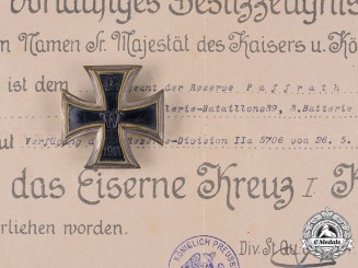 Germany, Imperial. An EK 1914 I Class with Award Documents