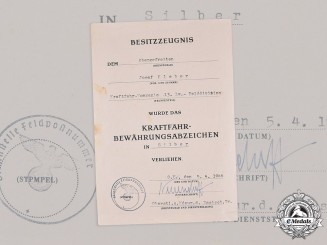 Germany, Wehrmacht. An Issue Certificate for a Driver Proficiency Badge in Silver to Obergefreiter Josef Kleber