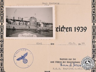 Germany, Kriegsmarine. A Certificate of Issue for a U-Boat War Badge to Obergefreiter Paul Hartwig
