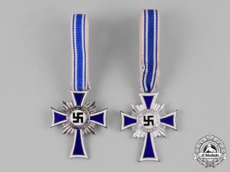 Germany, Third Reich. A Pair of Silver Grade Honour Crosses of the German Mother