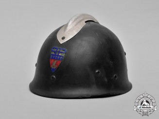 France, Fourth Republic. A Paris Police Prefecture Fire Brigade Helmet, c.1953