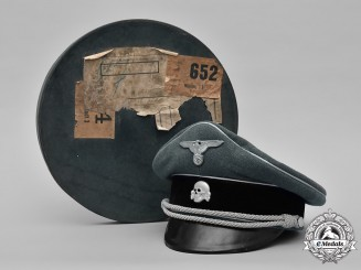 Germany, SS. An Extremely Rare Waffen-SS General's Visor Cap in Case