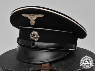 Germany, Allgemeine-SS. An EM/NCO Visor Cap with Hat Box by Hersteller