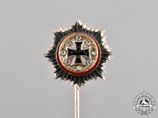 Germany. A German Cross Miniature Stick Pin, Gold Grade, with Diamonds, Alternative 1957 Version