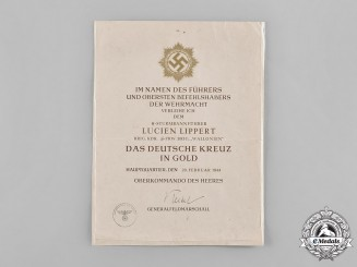 Germany, SS. A Rare Heer German Cross in Gold Award Document to SS-Sturmbannführer Lucien Lippert