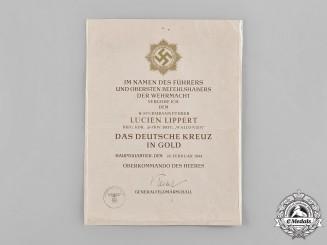 Germany, SS. A Rare Heer German Cross in Gold Award Document to SS-Sturmbannführer Lucien Lippert