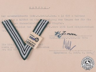 Germany, SS. An SS Honour Chevron of the Old Guard & Application for Permission for Wear