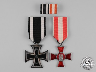 Prussia. An Iron Cross 1914 Second Class and a Bremen Hanseatic Cross