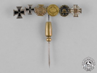 Prussia, State. A Miniature Award Stick Pin with Six Medals, Awards, and Decorations