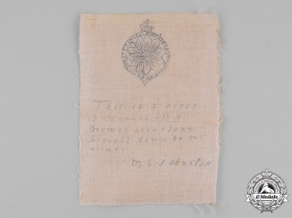 Germany, Imperial. A Piece of Canvas from a German Aeroplane, Attributed to Private Mark St. Clair Johnston, PPCLI, KIA
