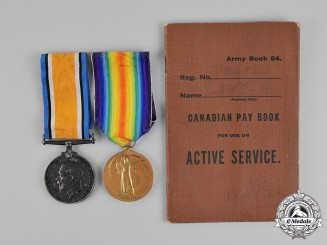 Canada. A Service Medal Pair with Paybook, Canadian Engineers
