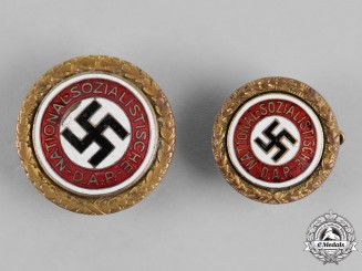 Germany, NSDAP. Two NSDAP Golden Party Badges to Member 69570. Fritz Brünemann