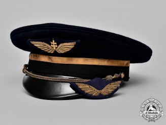 France, Republic. A Free French Air Force Officer's Visor Cap & Wing
