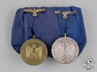 Germany, Wehrmacht. A Grouping of Two Wehrmacht Long Service Medals, Mounted
