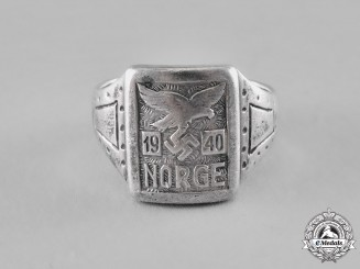 "Germany. A ""Norway 1940"" Luftwaffe Man's Silver Ring"