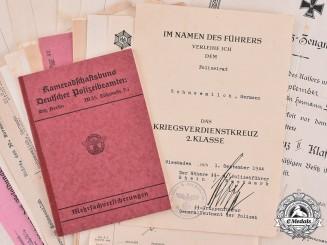 Germany, Ordnungspolizei. A Lot of Documents Belonging to Ordnungspolizei (Order Police) Inspector Hermann Schneemilch