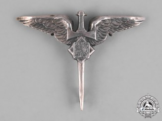 Czechoslovakia, Republic. An Air Force Air Gunner Badge in Silver, c.1942