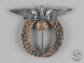 Czechoslovakia, Republic. An Air Force Air Observer Badge in Silver