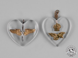 United Kingdom. Two Second War Air Force Sweetheart Pendants