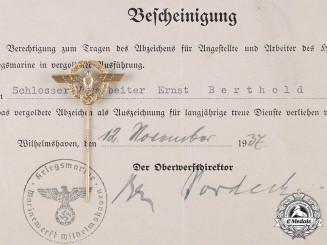 Germany, Kriegsmarine. A Golden Faithful Service Badge to Ernst Berthold