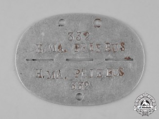 Germany, Heer. A Munitions Depot Priebus Identification Tag